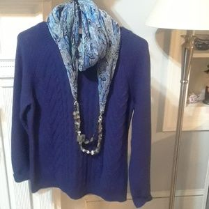 Blue cableknit sweater with scarf New